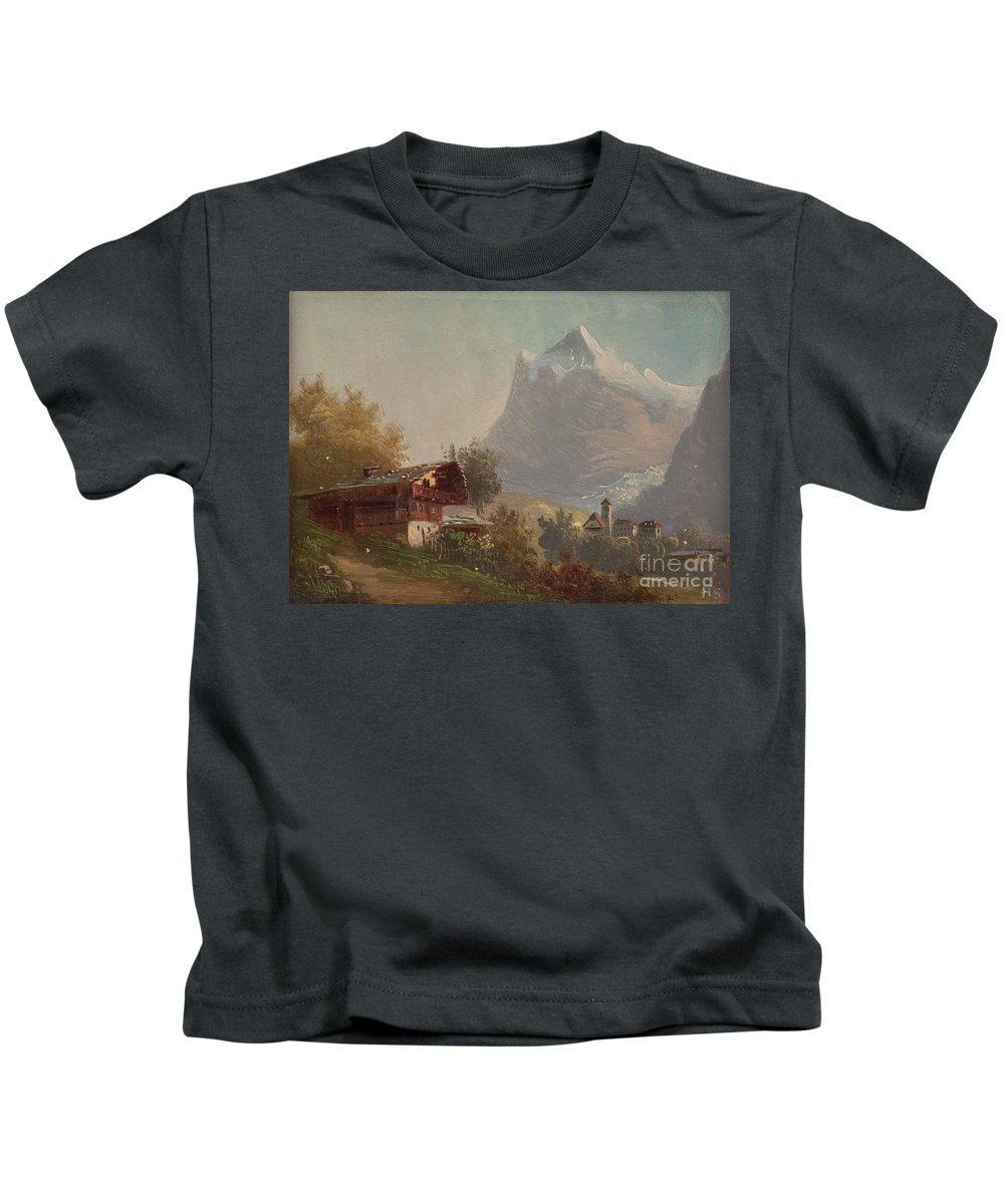 Hubert Sattler Grindelwald Kids T-Shirt featuring the painting Grindelwald by MotionAge Designs