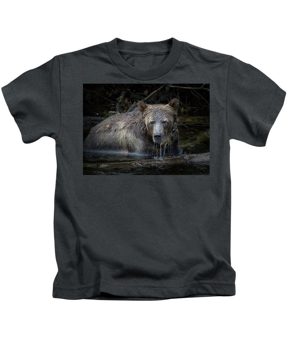 Grizzly Bear Kids T-Shirt featuring the photograph Grizzly by Randy Hall