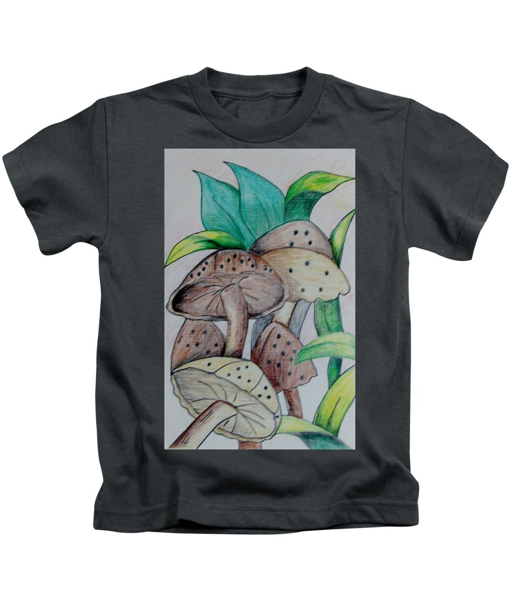 Mushrooms Kids T-Shirt featuring the drawing Growing Wild by Nkese Miller