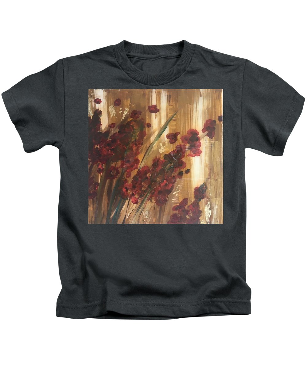 Abstract Garden Kids T-Shirt featuring the painting Guided Garden by Raquel Gaudet