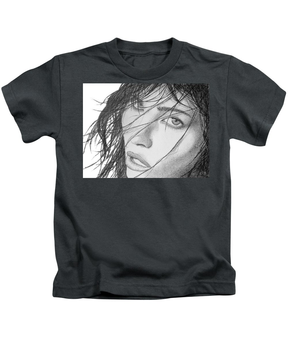 Guilty Pleasure Kids T-Shirt featuring the drawing Guilty Pleasure by Conor O'Brien