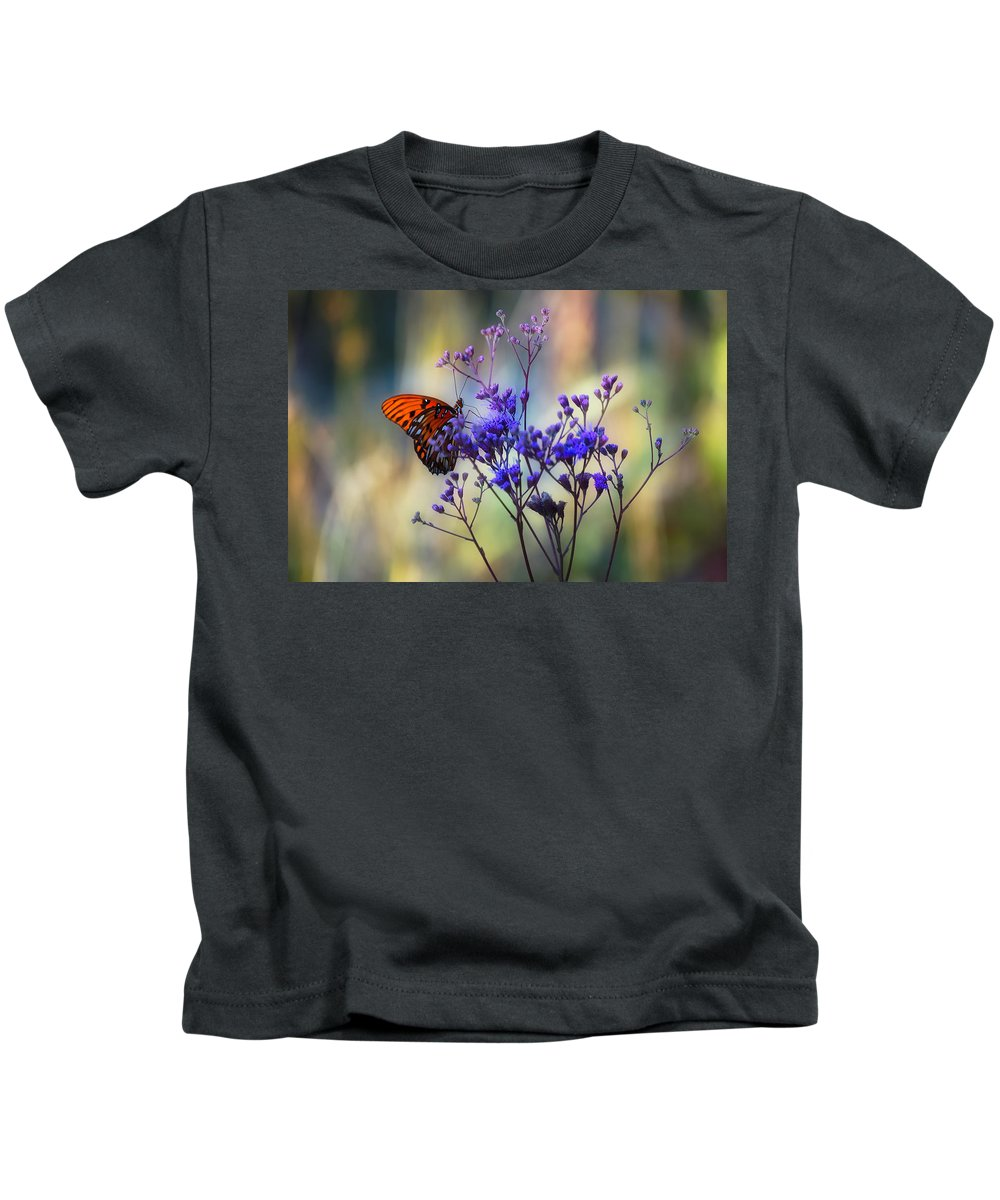 Butterfly Kids T-Shirt featuring the photograph Gulf Fritillary by Rich Leighton