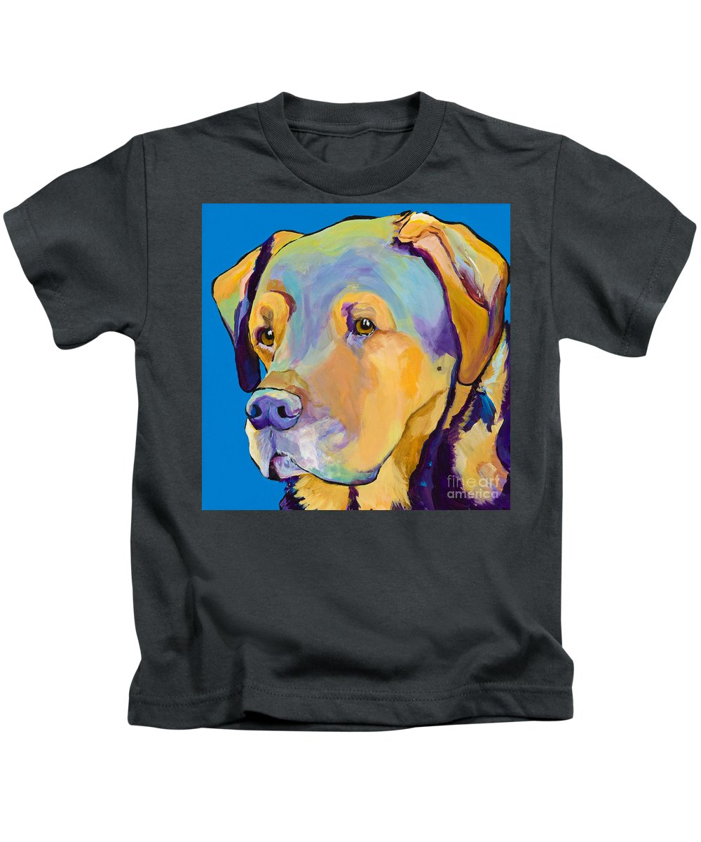 Dog Portrait Kids T-Shirt featuring the painting Gunner by Pat Saunders-White