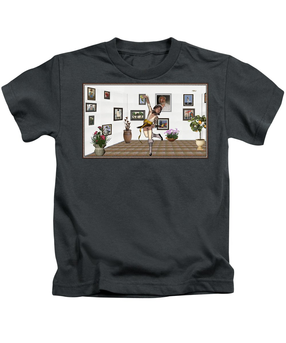 People Kids T-Shirt featuring the mixed media Digital Exhibartition _ Dancing Girl by Pemaro