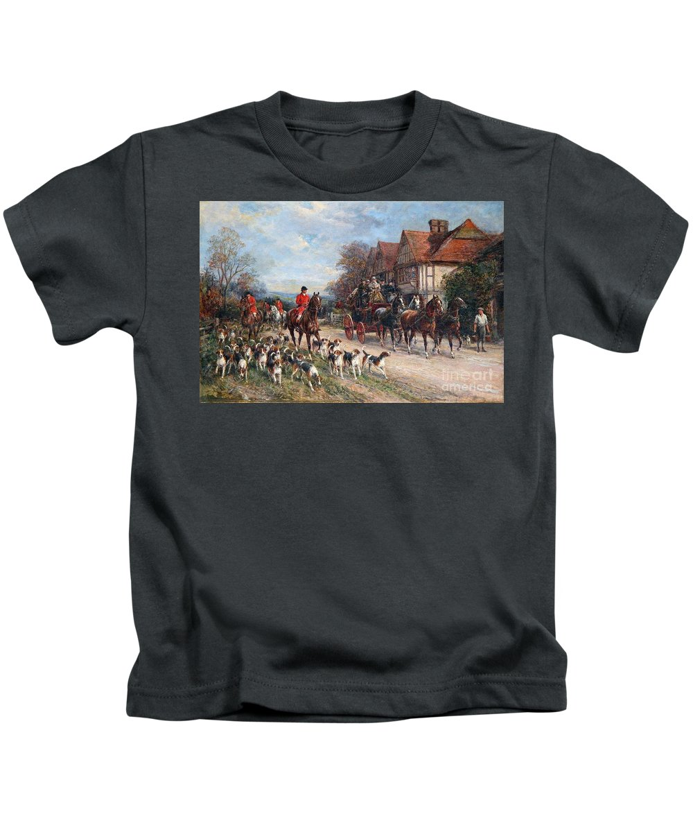 Heywood Hardy - Hacking To The Meet Kids T-Shirt featuring the painting Hacking To The Meet by MotionAge Designs