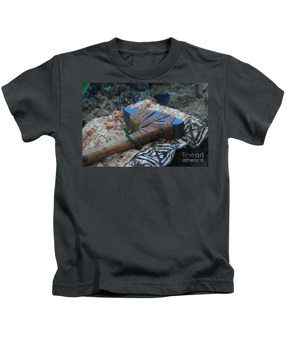 Aloha Kids T-Shirt featuring the photograph Hafted Hawaiian Adze Wailea Maui Hawaii by Sharon Mau