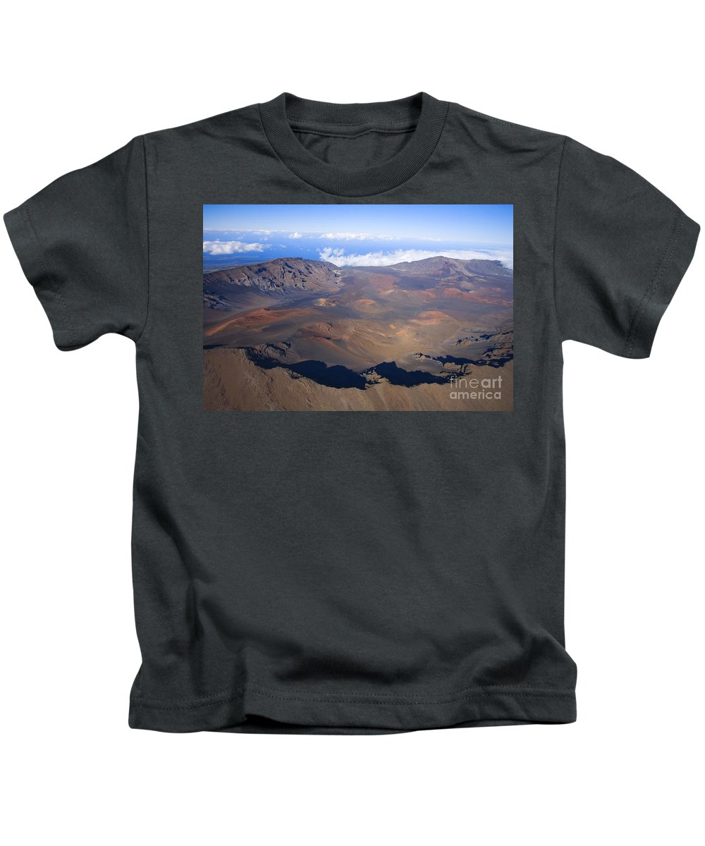 Aerial Kids T-Shirt featuring the photograph Haleakala Crater by Ron Dahlquist - Printscapes