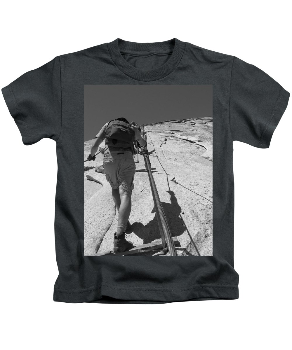 Half Dome Kids T-Shirt featuring the photograph Half Dome Cables by Travis Day