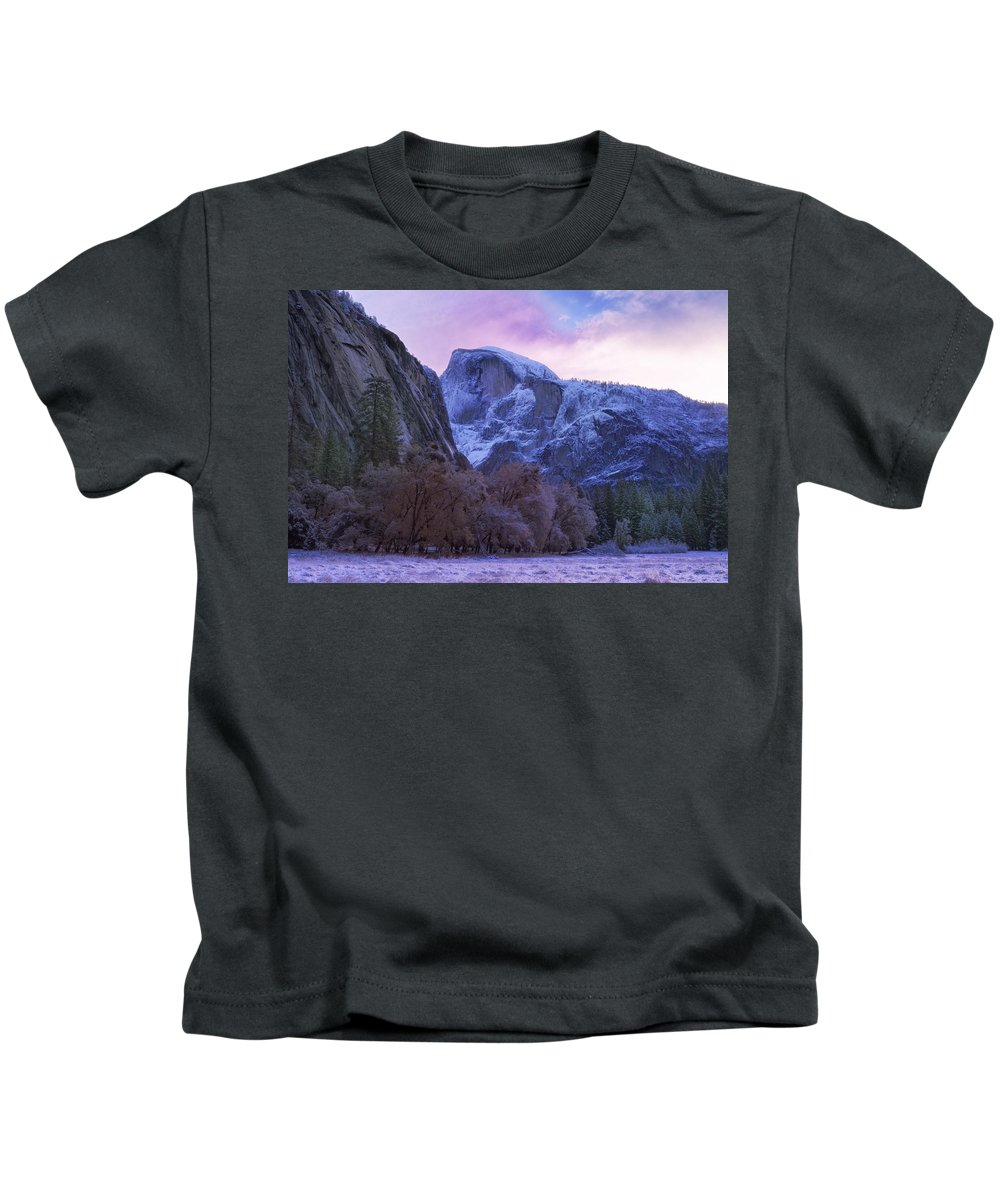 Evergreen Trees Kids T-Shirt featuring the photograph Half Dome Fall And Snow by Doug Holck