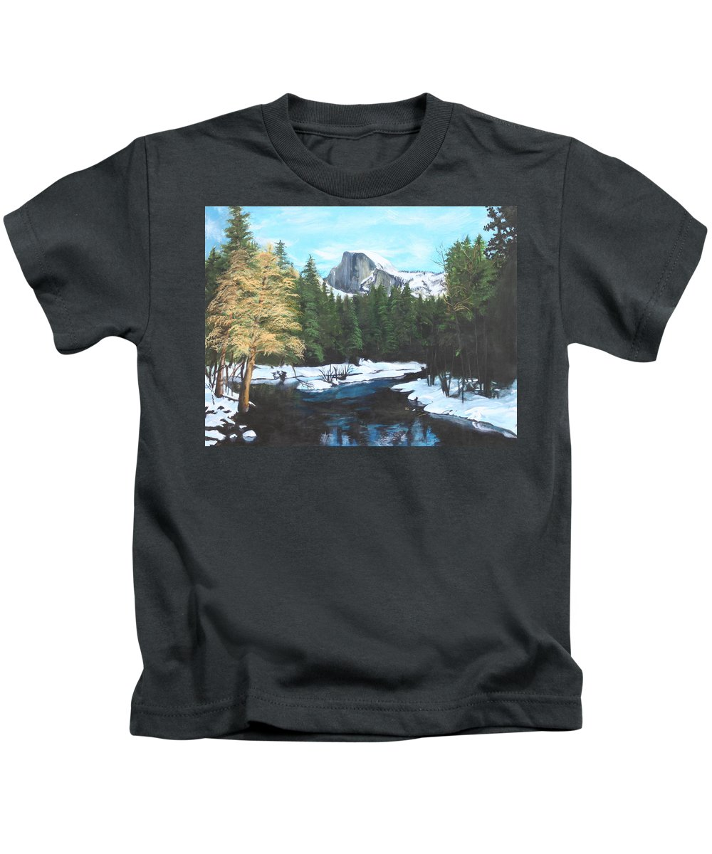 Lkandscape Kids T-Shirt featuring the painting Half Dome Snow by Travis Day