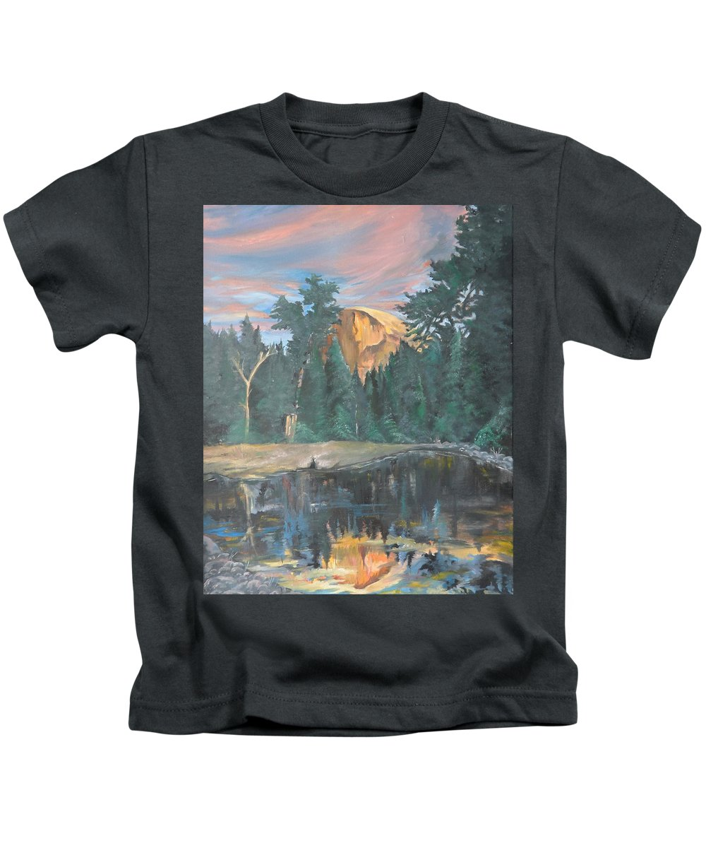 Sunset Kids T-Shirt featuring the painting Half Dome Sunset by Travis Day