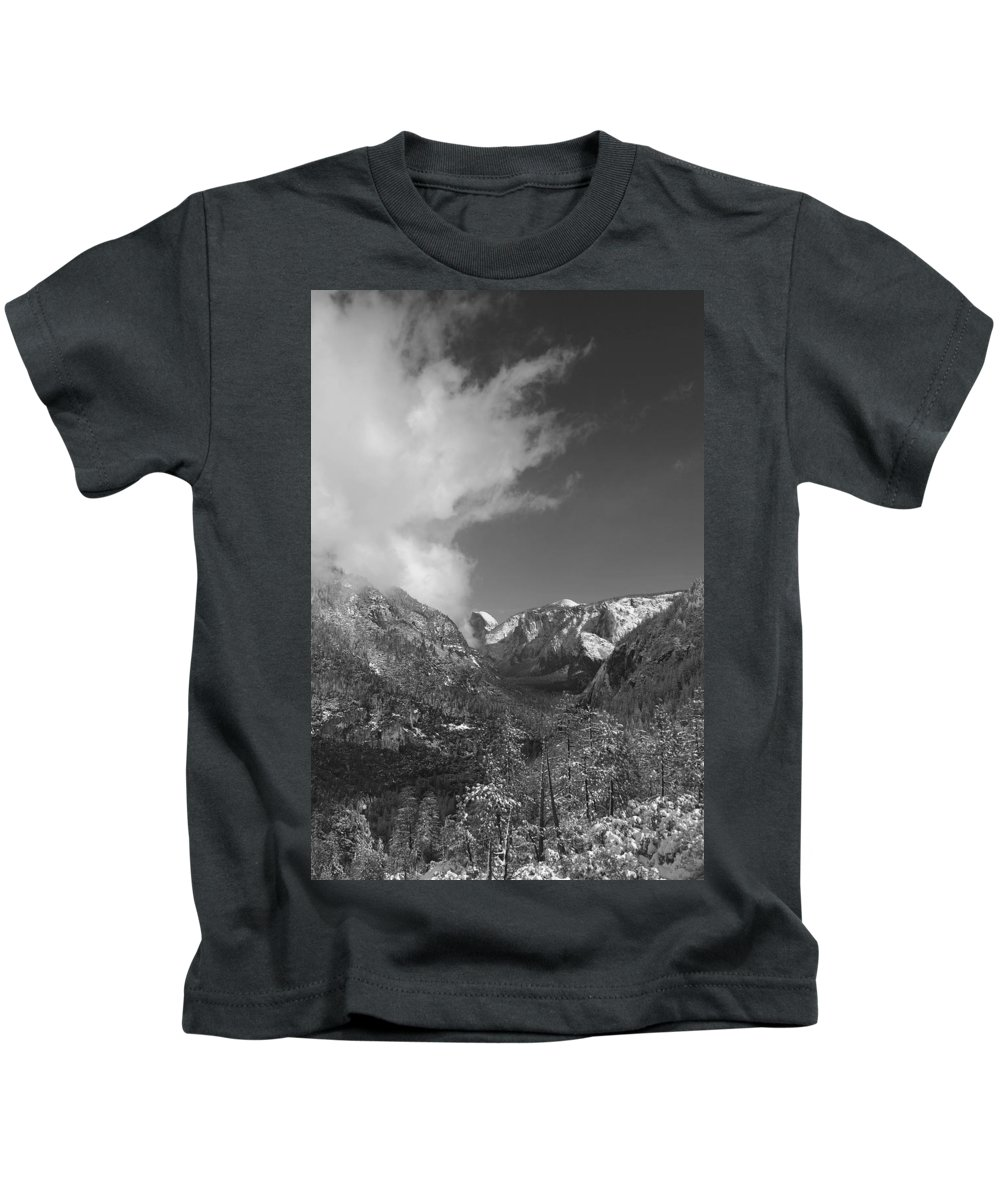 Half Dome Kids T-Shirt featuring the photograph Half Dome Winter by Travis Day