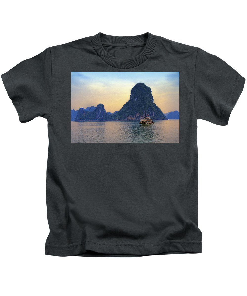 Vietnam Kids T-Shirt featuring the photograph Halong Bay 5 by Claude LeTien