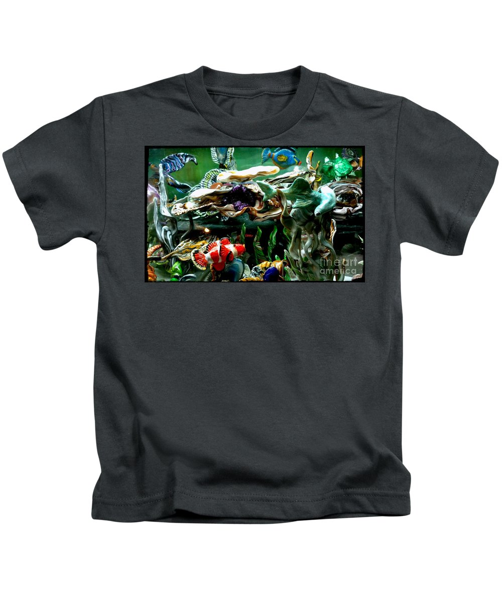 No Maintenance Aquariumn Blue Green Red Yellow Gold Silver Abstract Created Flower Color Colorful Eye-catching Abstract Created Coral Imagery Animated Aquatic Art Gold Silver Ocean Scene Sea Water Fish Art Kids T-Shirt featuring the mixed media Hammerhead Shark Swimming Through New Abstract Coral by Kirk Wieland