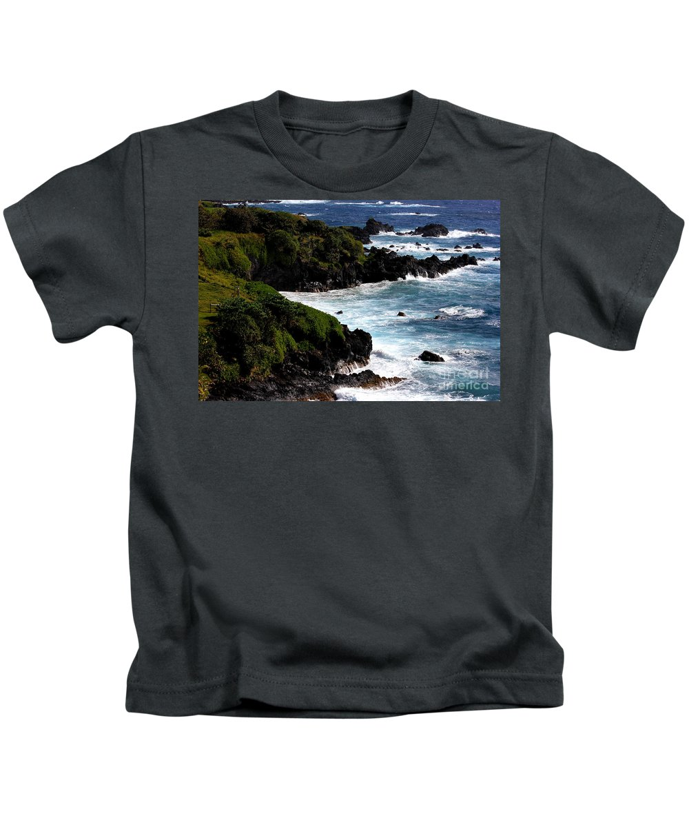 Maui Kids T-Shirt featuring the photograph Hana Shore by Carol Komassa