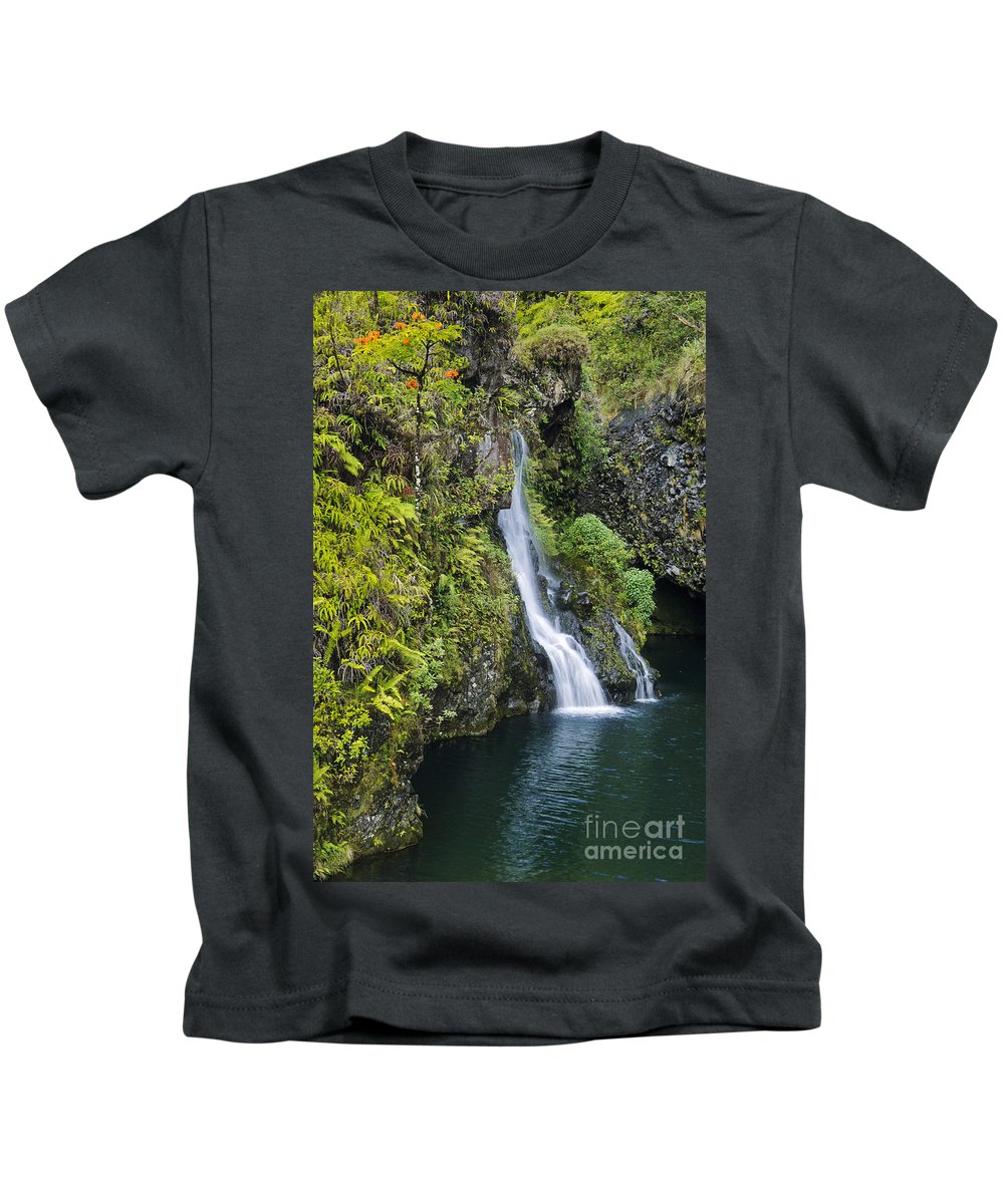 Active Kids T-Shirt featuring the photograph Hanawai Waterfall by Greg Vaughn - Printscapes