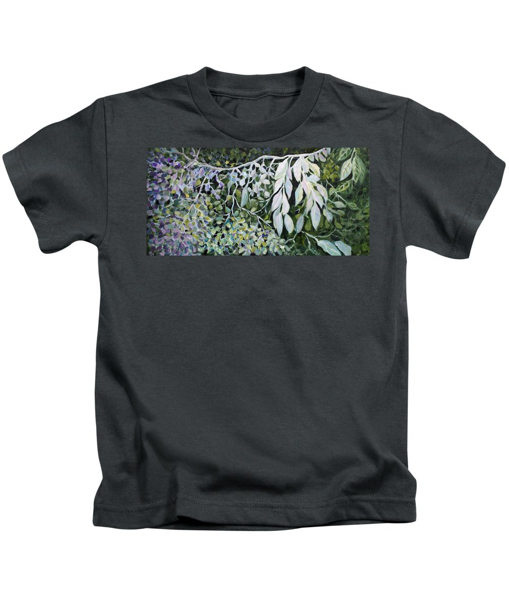 Leaves Kids T-Shirt featuring the painting Silver Spendor by Jo Smoley