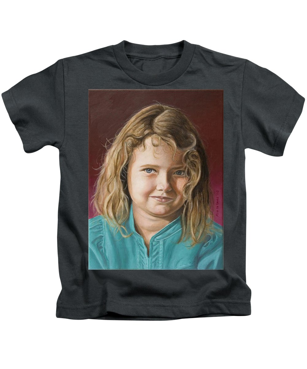 Portrait Kids T-Shirt featuring the painting Hanna by Rob De Vries