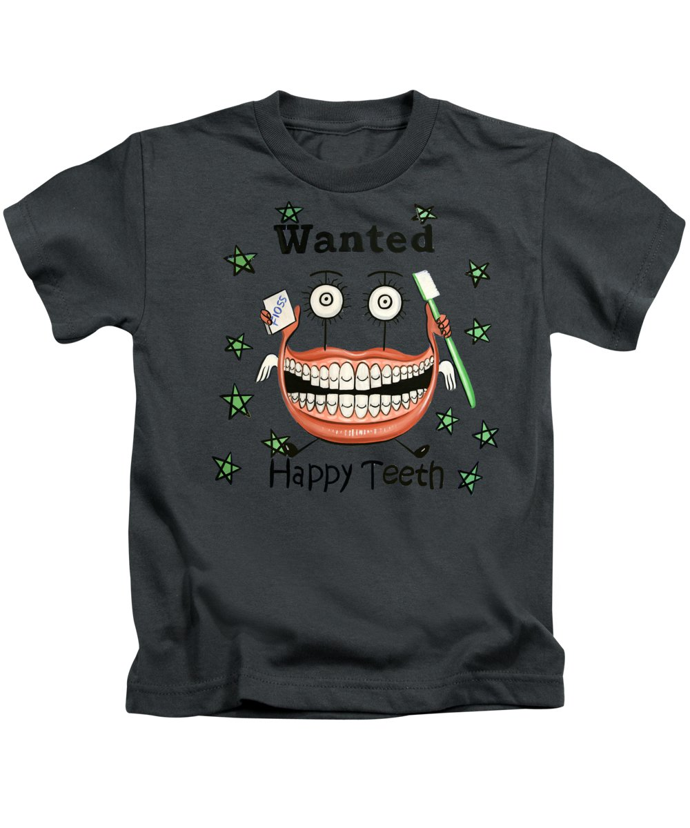 Happy Teeth T-shirt Kids T-Shirt featuring the painting Happy Teeth T-shirt by Anthony Falbo
