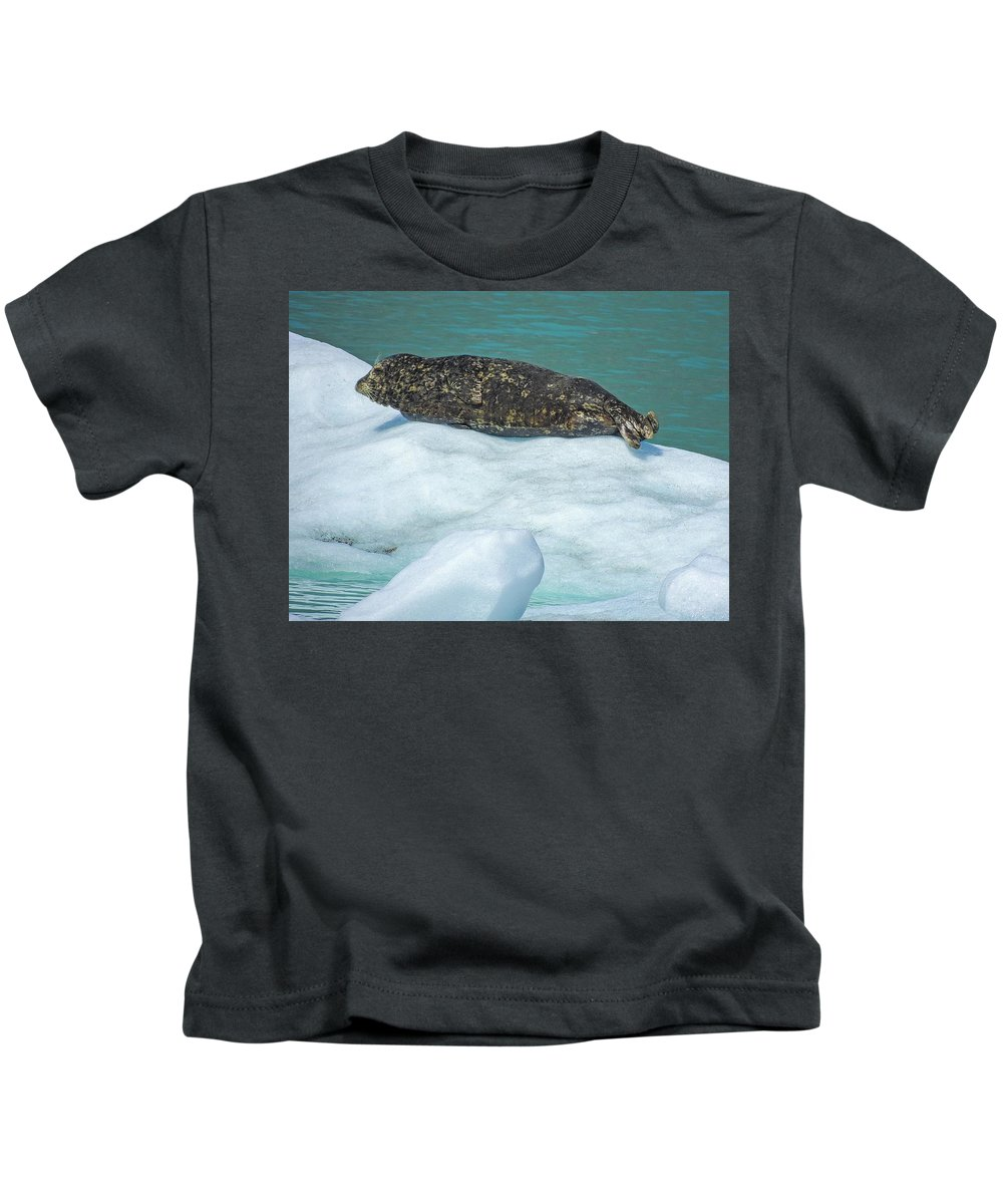 Juvenile Kids T-Shirt featuring the photograph Harbor Seal Sunbathing On A Bergy Bit by NaturesPix