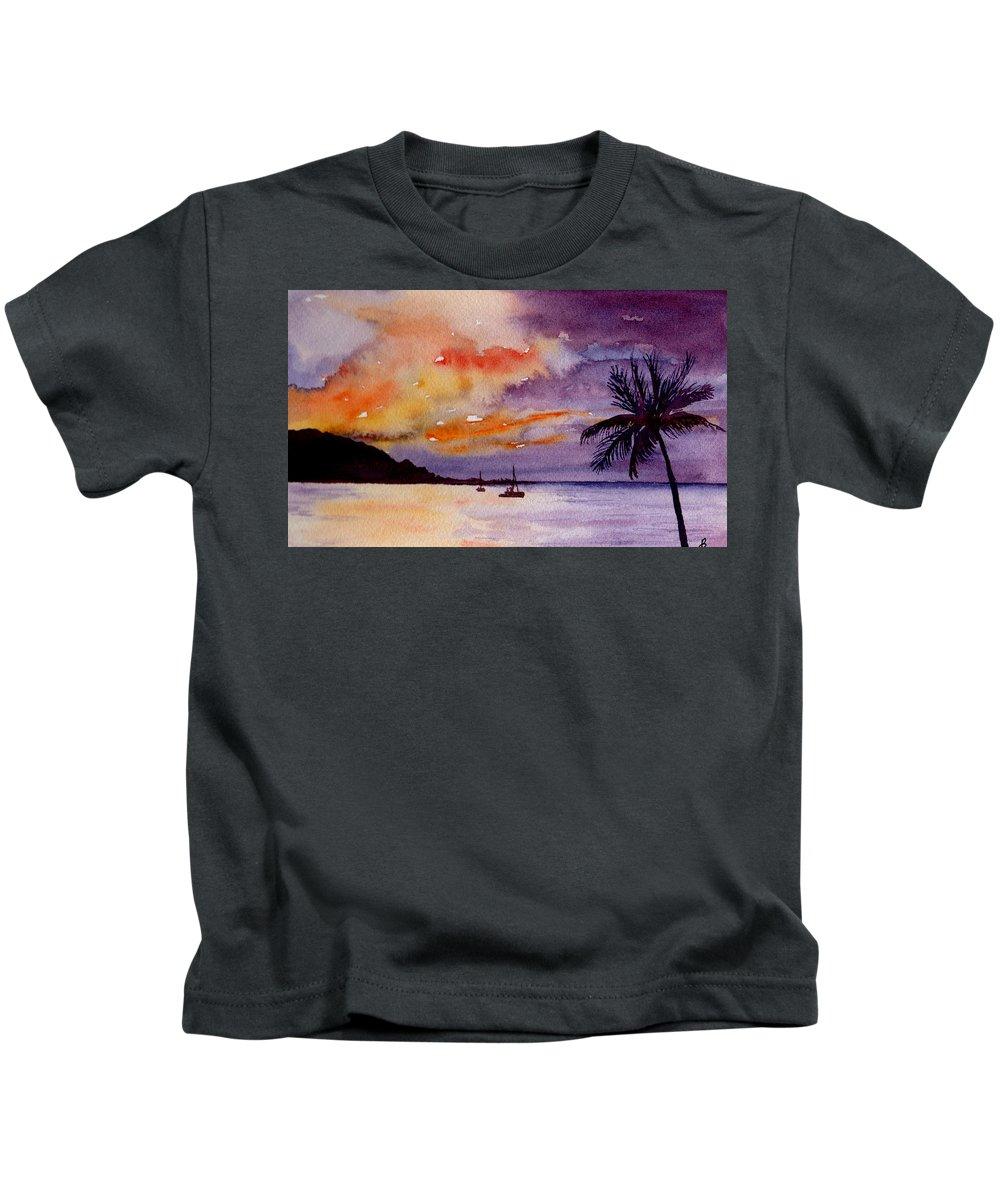 Watercolor Kids T-Shirt featuring the painting Harbor Sunset Kauai Hawaii by Brenda Owen