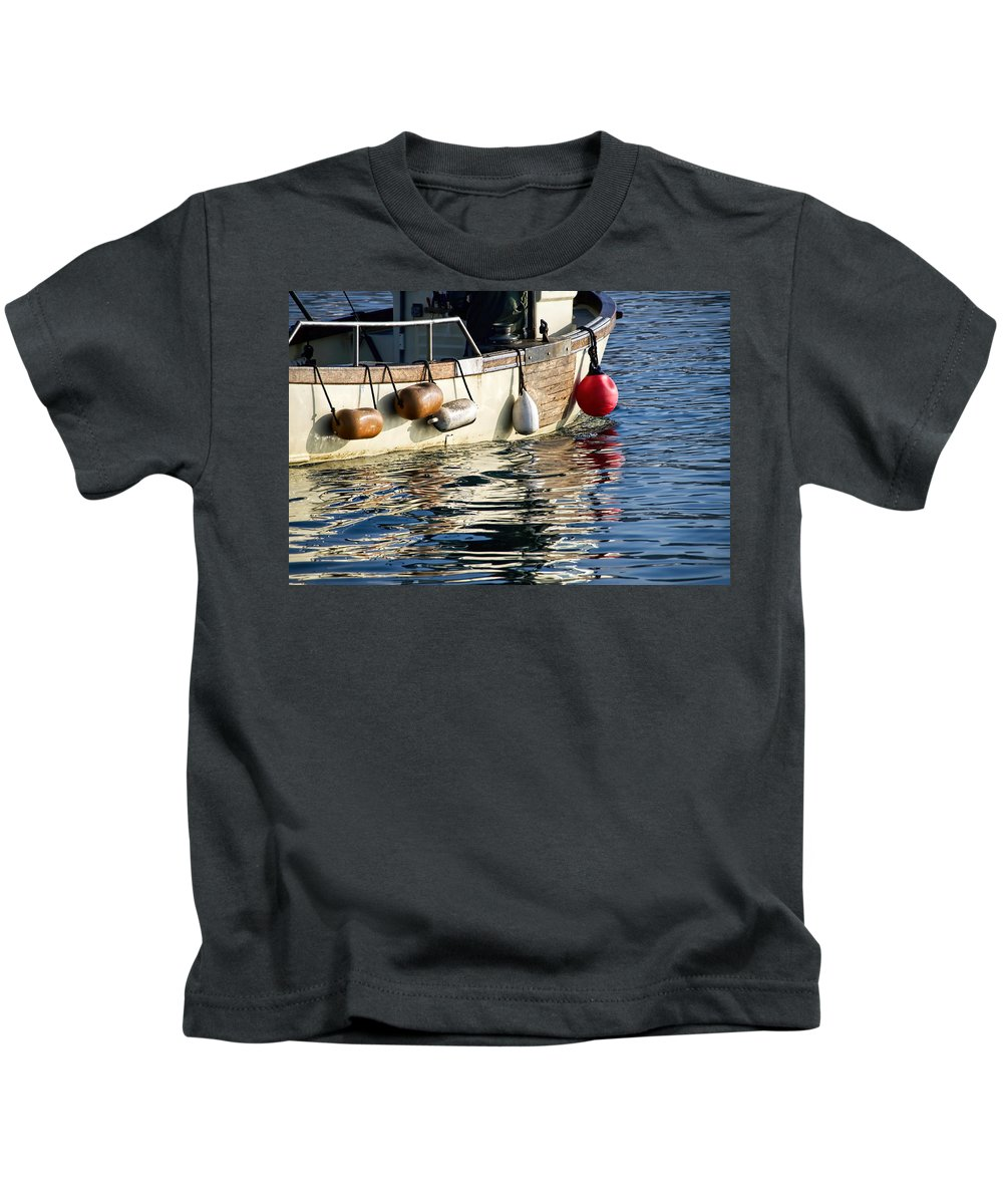 Lyme-regis Kids T-Shirt featuring the photograph Harbour Reflections 3 - June 2015 by Susie Peek