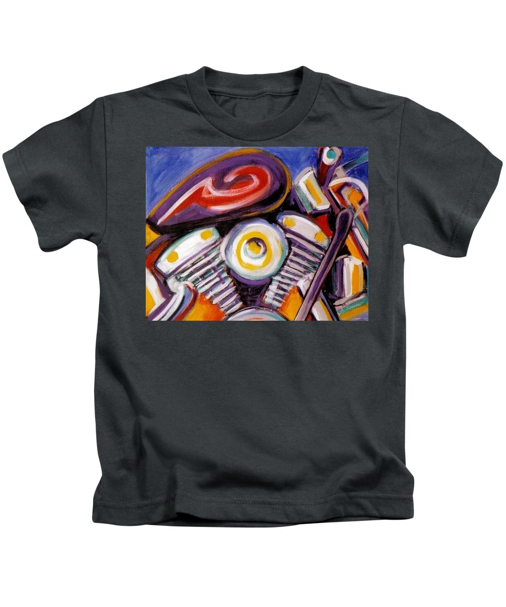 Abstract Kids T-Shirt featuring the painting Harley Closeup by Anita Burgermeister