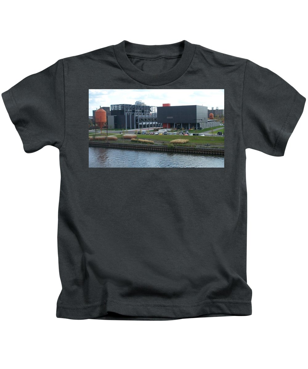 Architechture Kids T-Shirt featuring the photograph Harley Museum Milwaukee by Anita Burgermeister