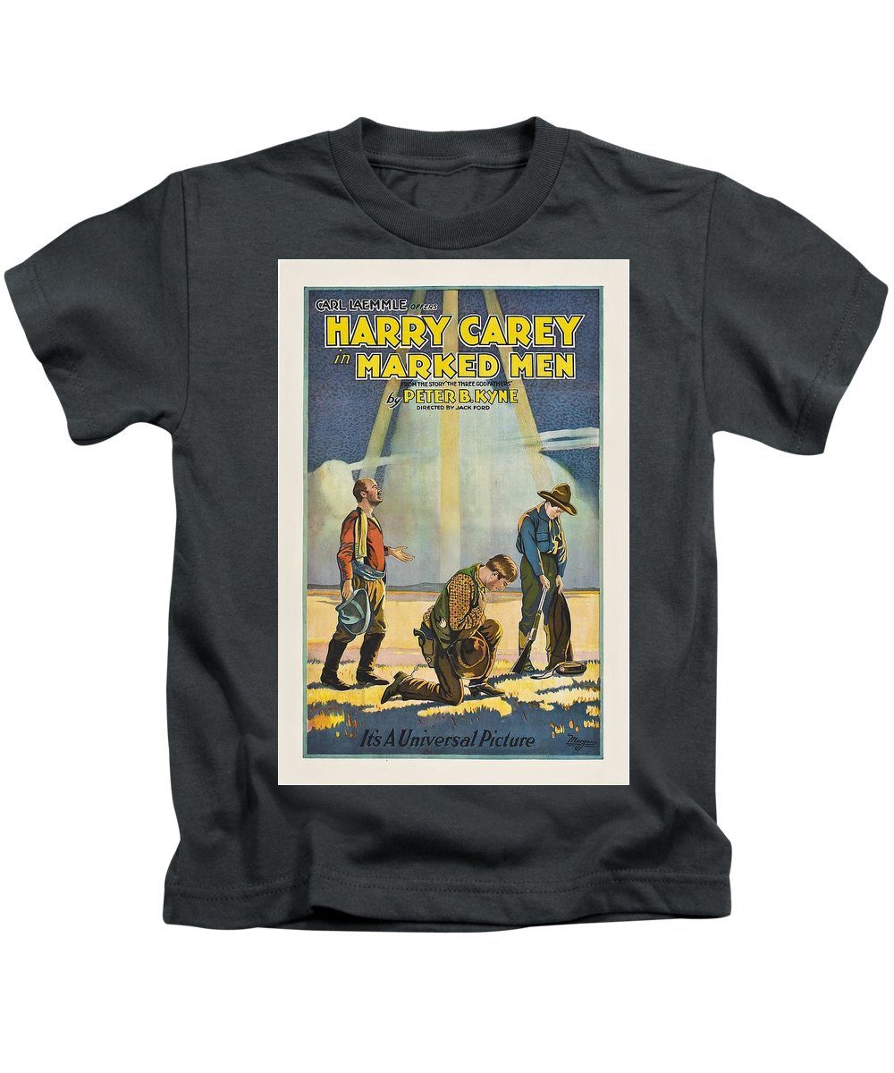 Movie Kids T-Shirt featuring the drawing Harry Carey In Marked Men 1919 by Mountain Dreams