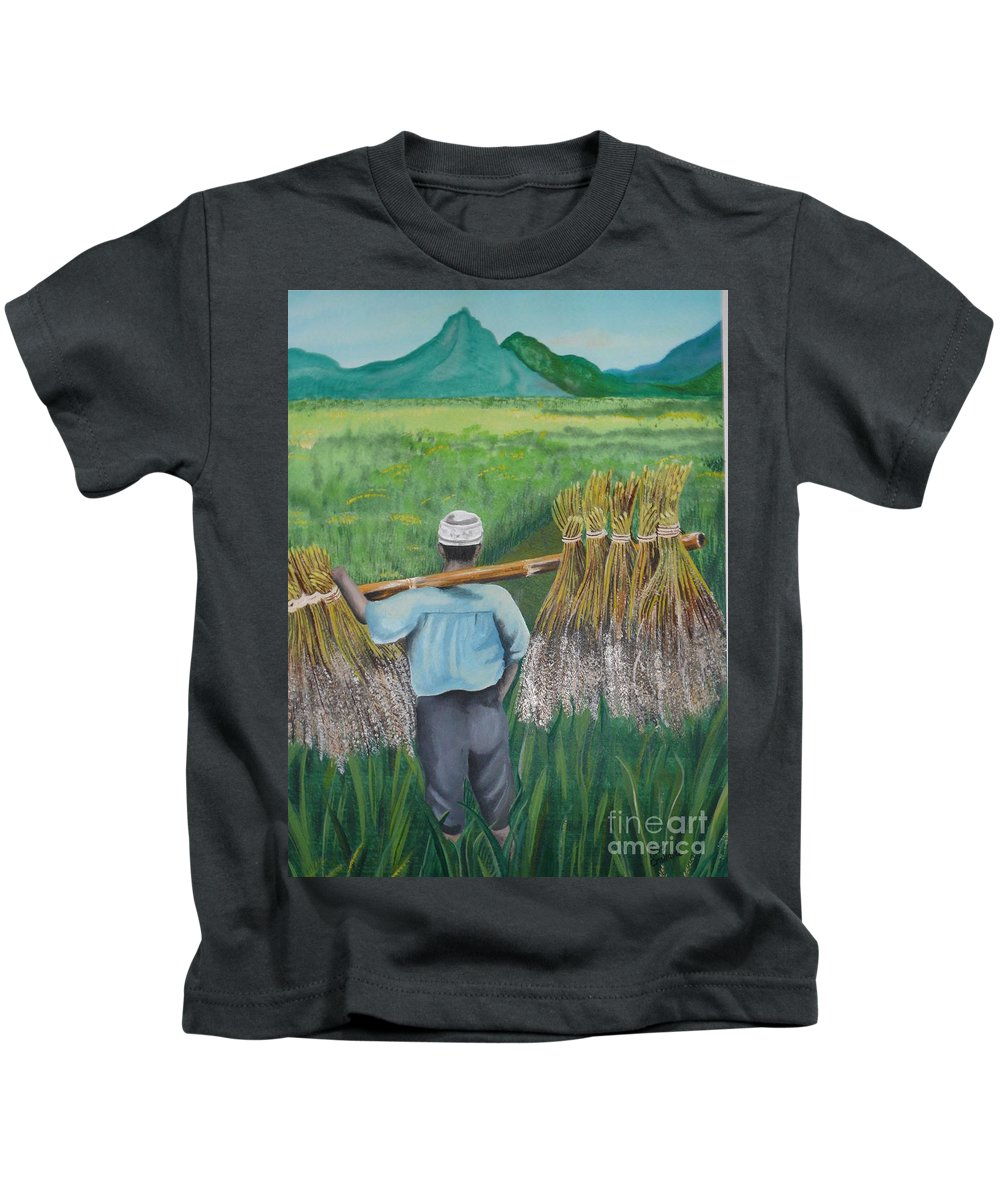Landscape Kids T-Shirt featuring the painting Harvest by Kris Crollard
