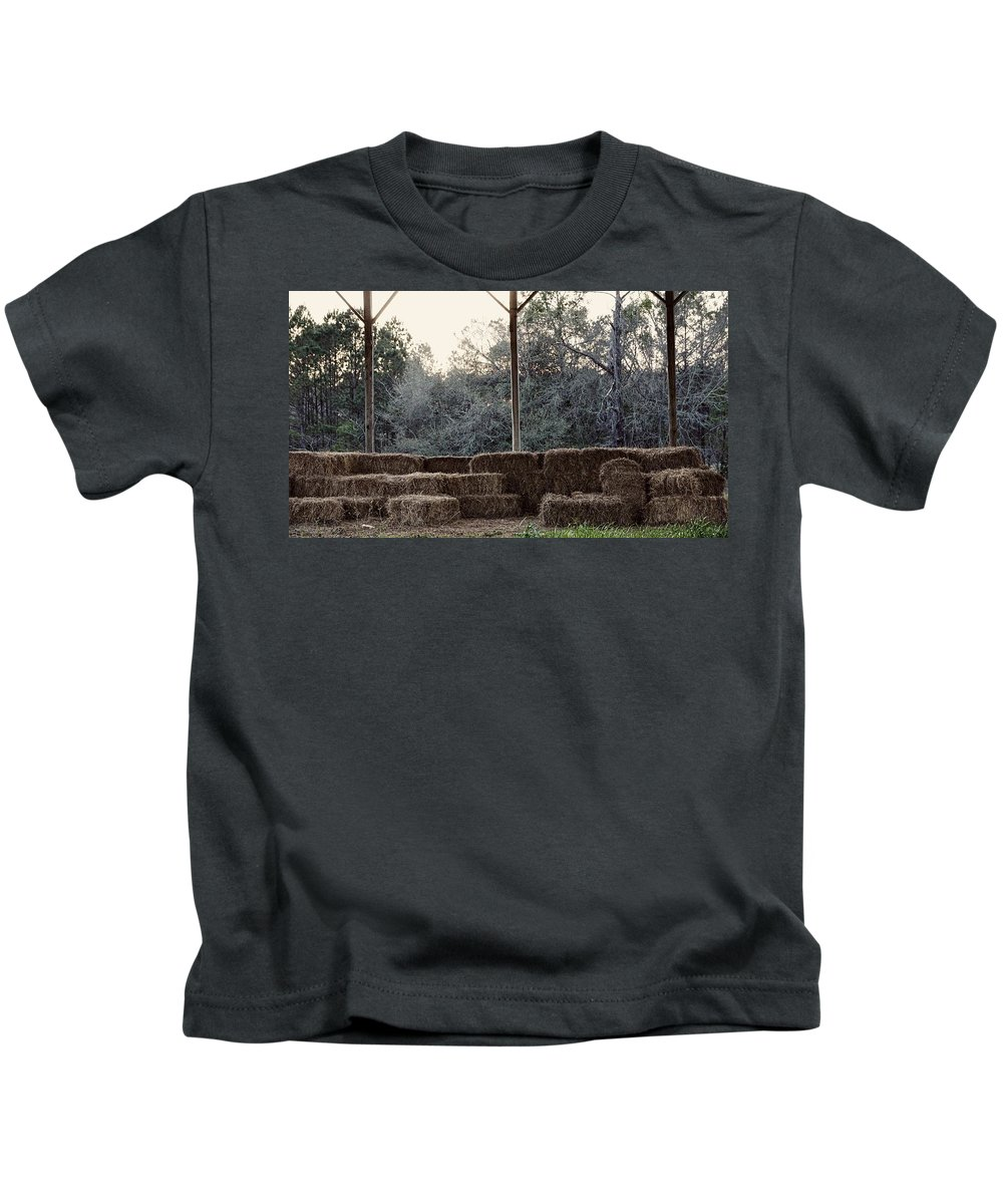 Hay Kids T-Shirt featuring the photograph Hay , Open Seating by Paul Wilford