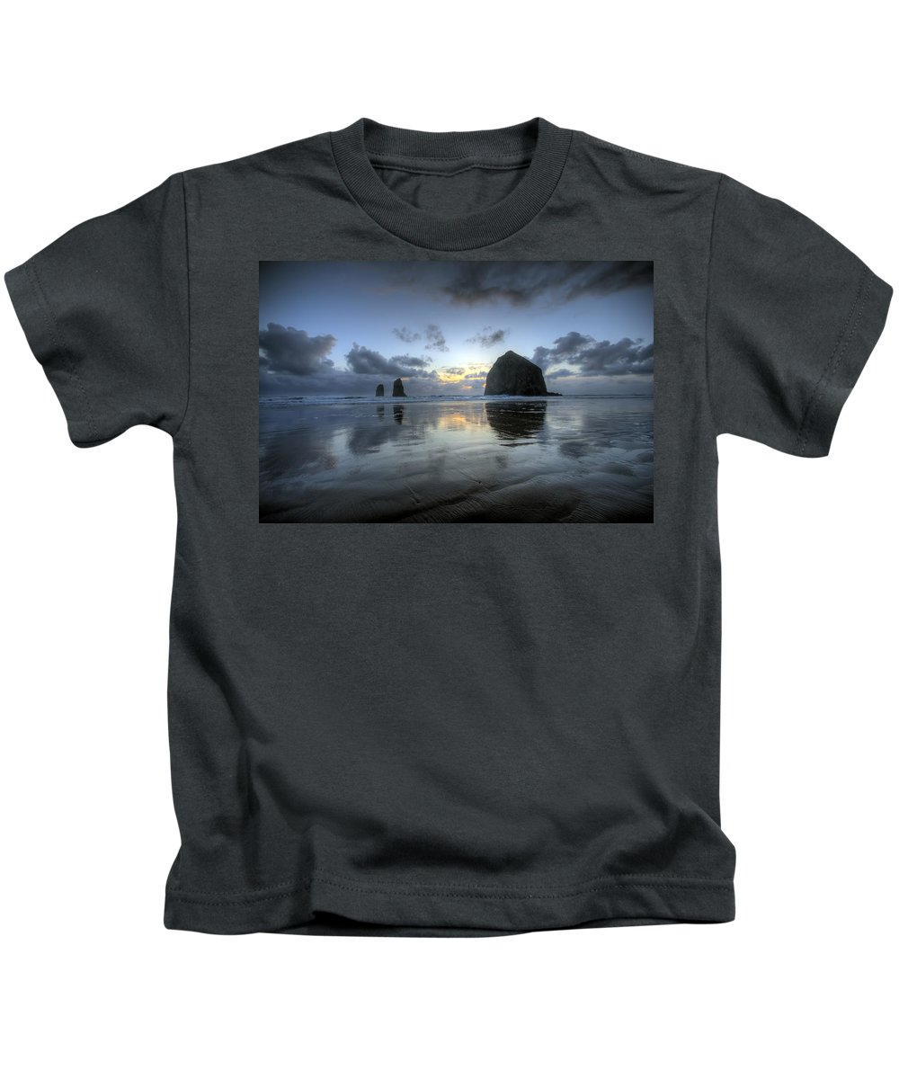 Hdr Kids T-Shirt featuring the photograph Haystacks At Sunset by Brad Granger