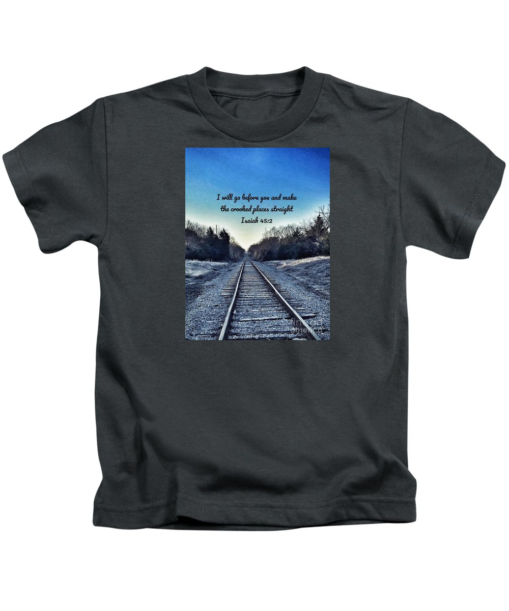 Train Tracks Kids T-Shirt featuring the photograph He Goes Before Us by Alicia Martin