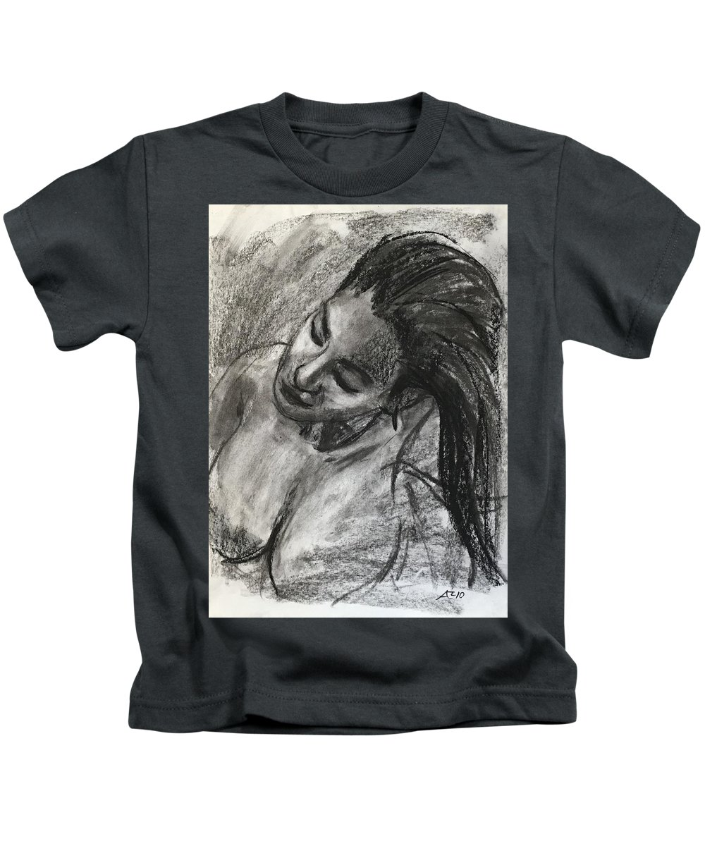 Kids T-Shirt featuring the drawing Head Of A Model Inclined by Alejandro Lopez-Tasso