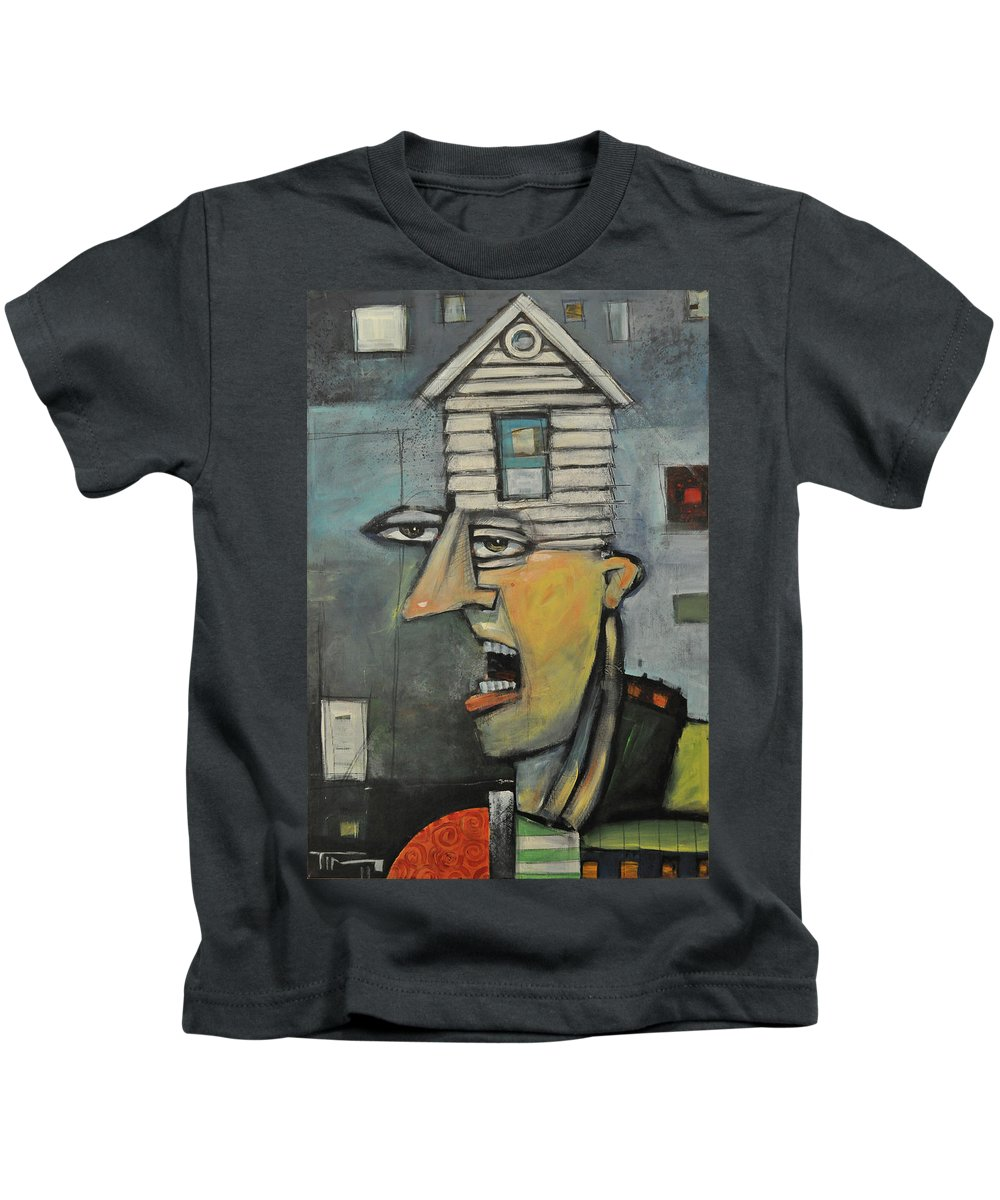 Face Kids T-Shirt featuring the painting Head Of The House by Tim Nyberg