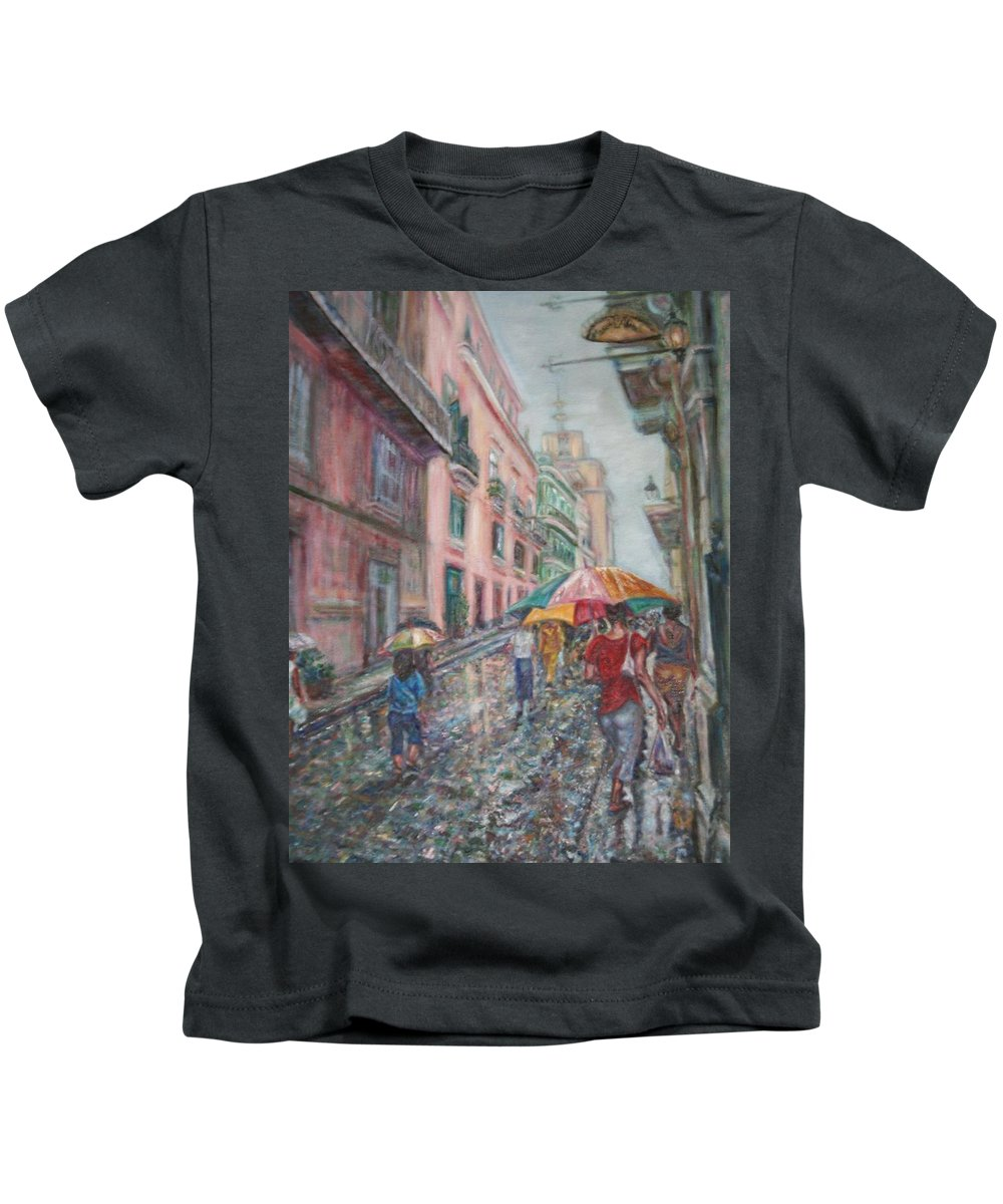 Women Kids T-Shirt featuring the painting Heading Home In Havava by Quin Sweetman