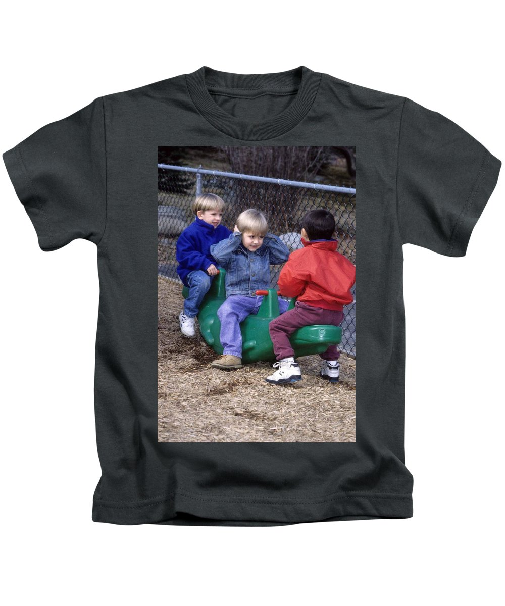 Children Kids T-Shirt featuring the photograph Hear No Evil See No Evil Speak No Evil by Laurie Paci