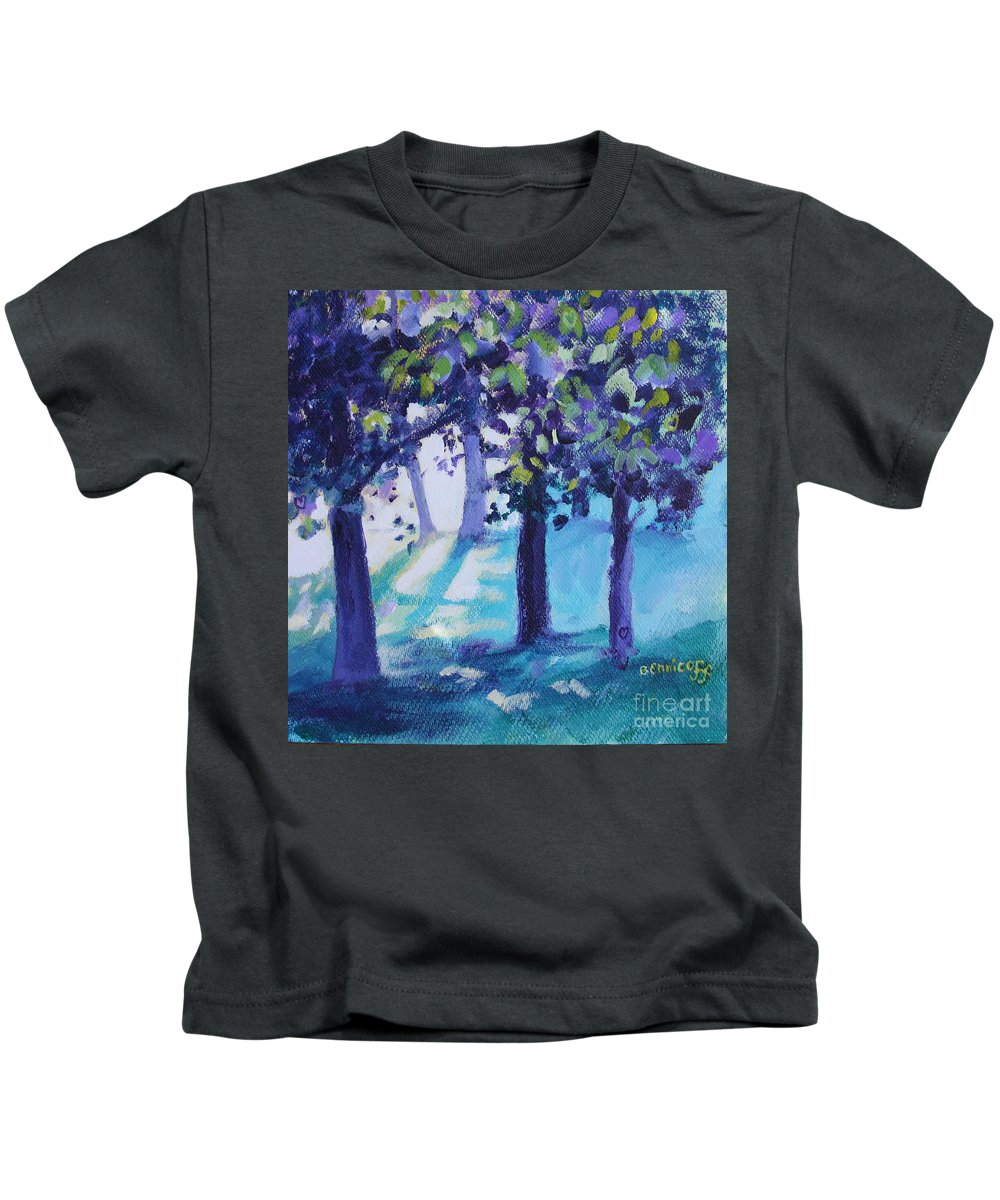 Expressionist Kids T-Shirt featuring the painting Heart Of The Forest by Jan Bennicoff