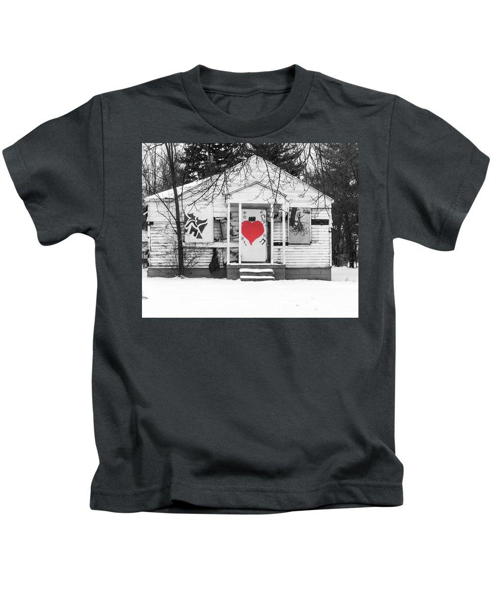 Heart Detroit Blight Eastside 10four12 Kids T-Shirt featuring the photograph Heart by Terry Cross