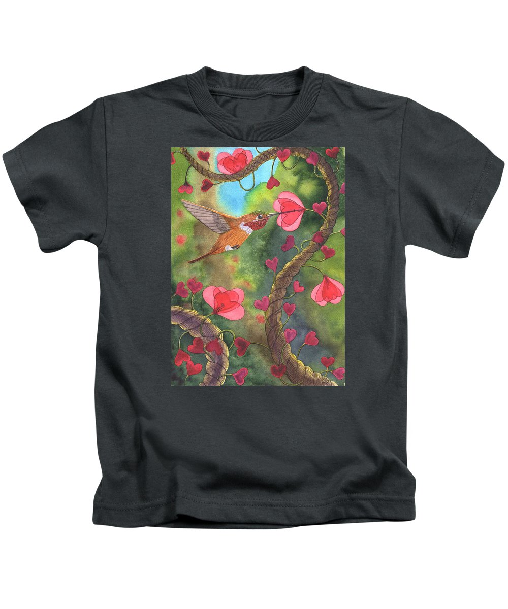 Valentine Kids T-Shirt featuring the painting Heart Twine by Catherine G McElroy