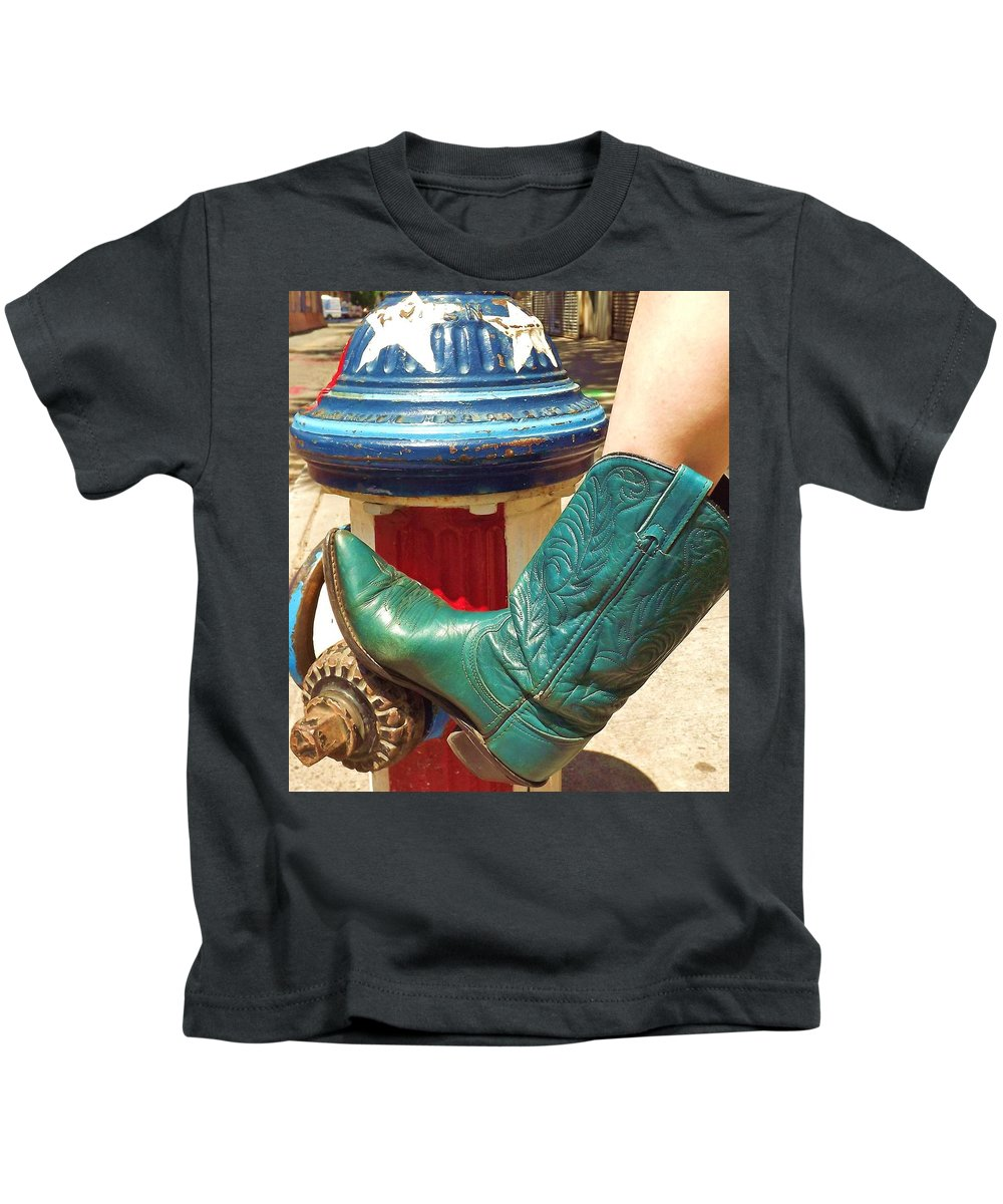 Nyc Kids T-Shirt featuring the photograph Heather's Boot by Zen WildKitty