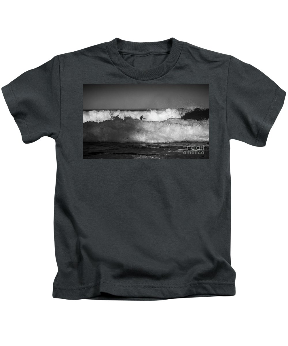 Heavy Surf Kids T-Shirt featuring the photograph Heavy surf at Avalon Beach by Sheila Smart Fine Art Photography