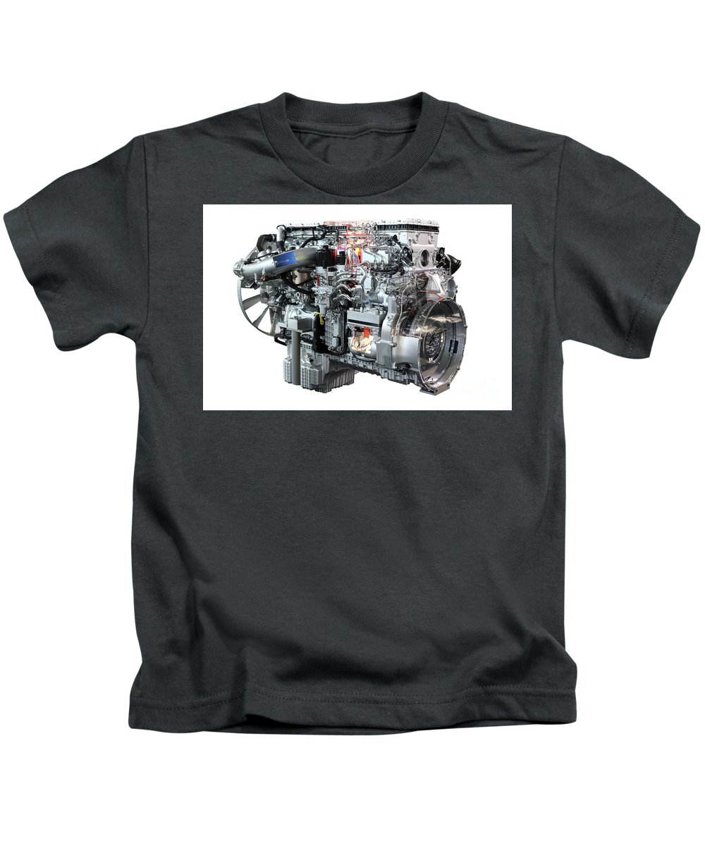 Engine Kids T-Shirt featuring the photograph Heavy Truck Diesel Engine Isolated by Goce Risteski