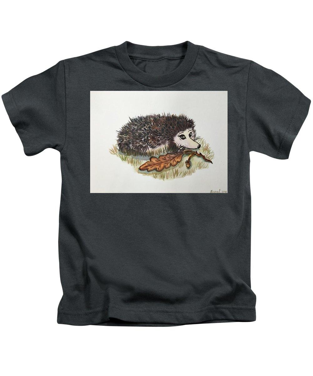 Nature Kids T-Shirt featuring the painting Hedgehog by Aysel Mekhtieva