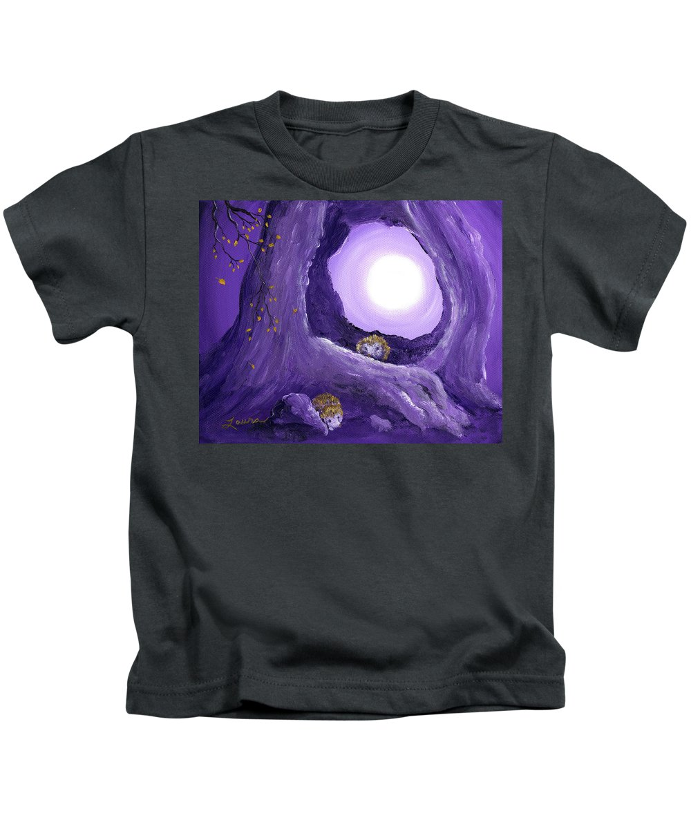 Painting Kids T-Shirt featuring the painting Hedgehogs In Purple Moonlight by Laura Iverson