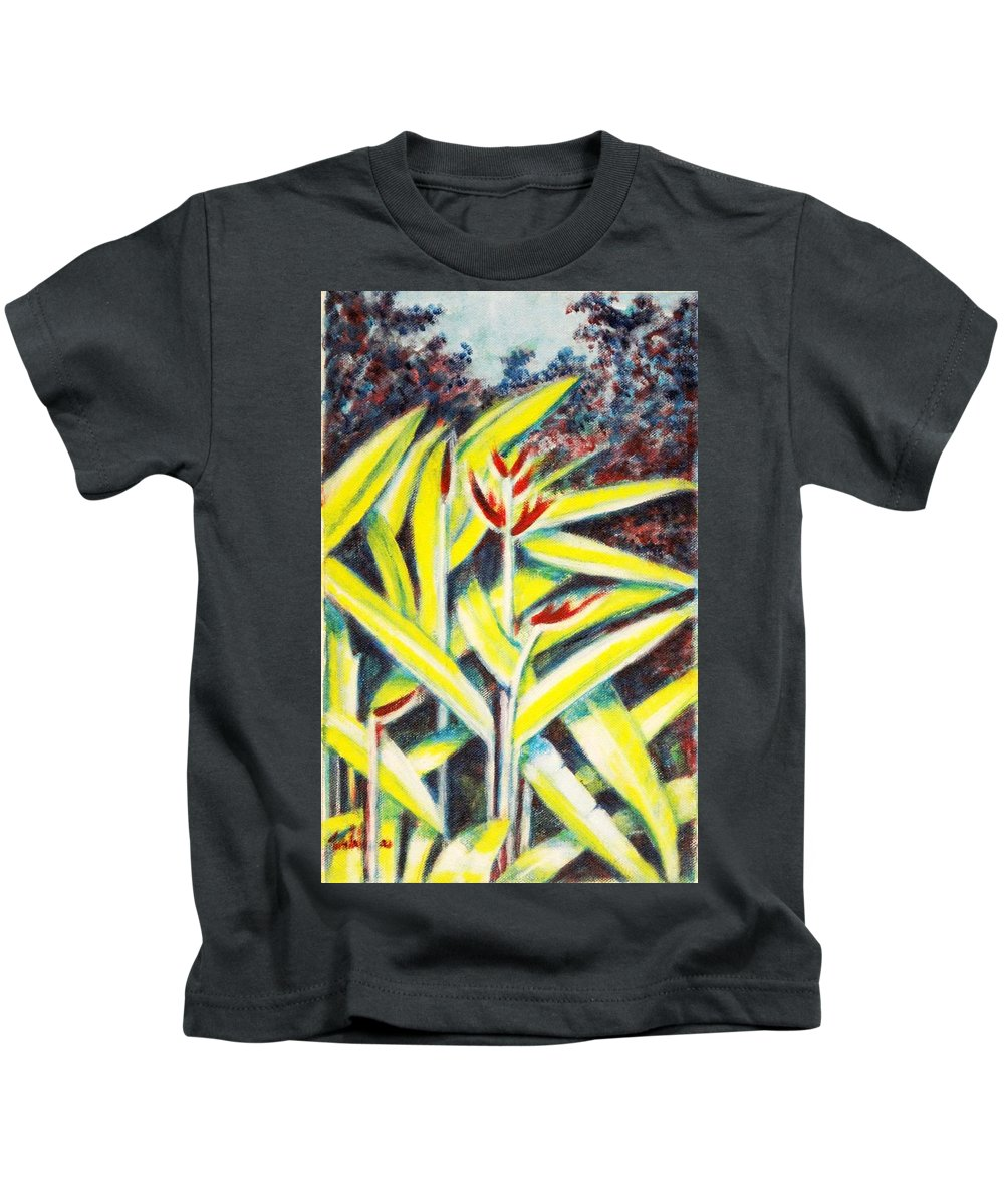 Heliconia Kids T-Shirt featuring the painting Heliconia 2 by Usha Shantharam