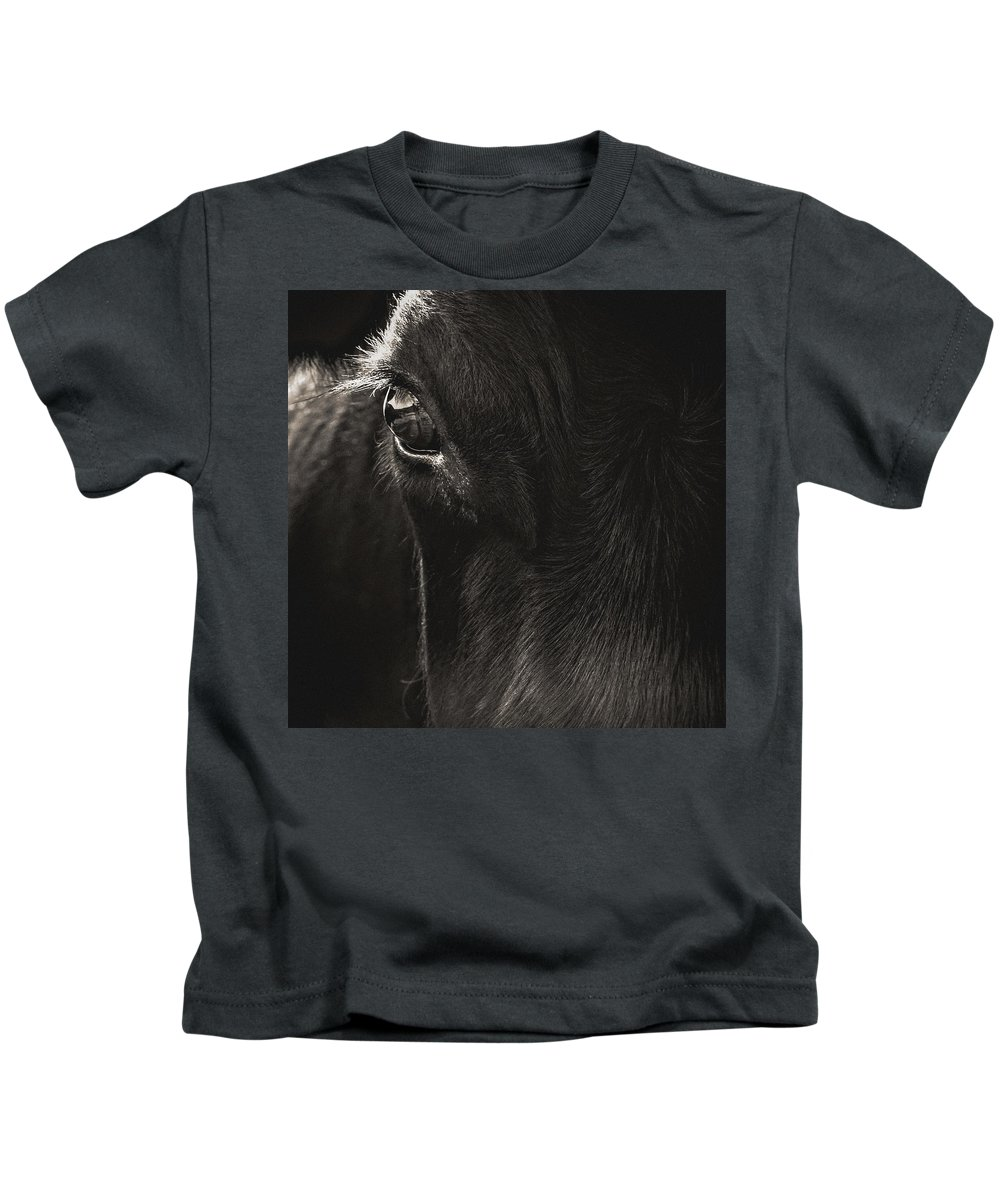 Black Angus Kids T-Shirt featuring the photograph Hello by Debi Bishop