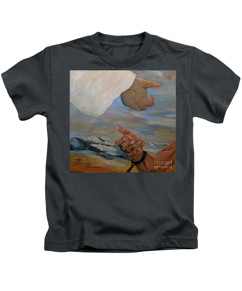 Religious Kids T-Shirt featuring the painting Help Me by Donna Steward