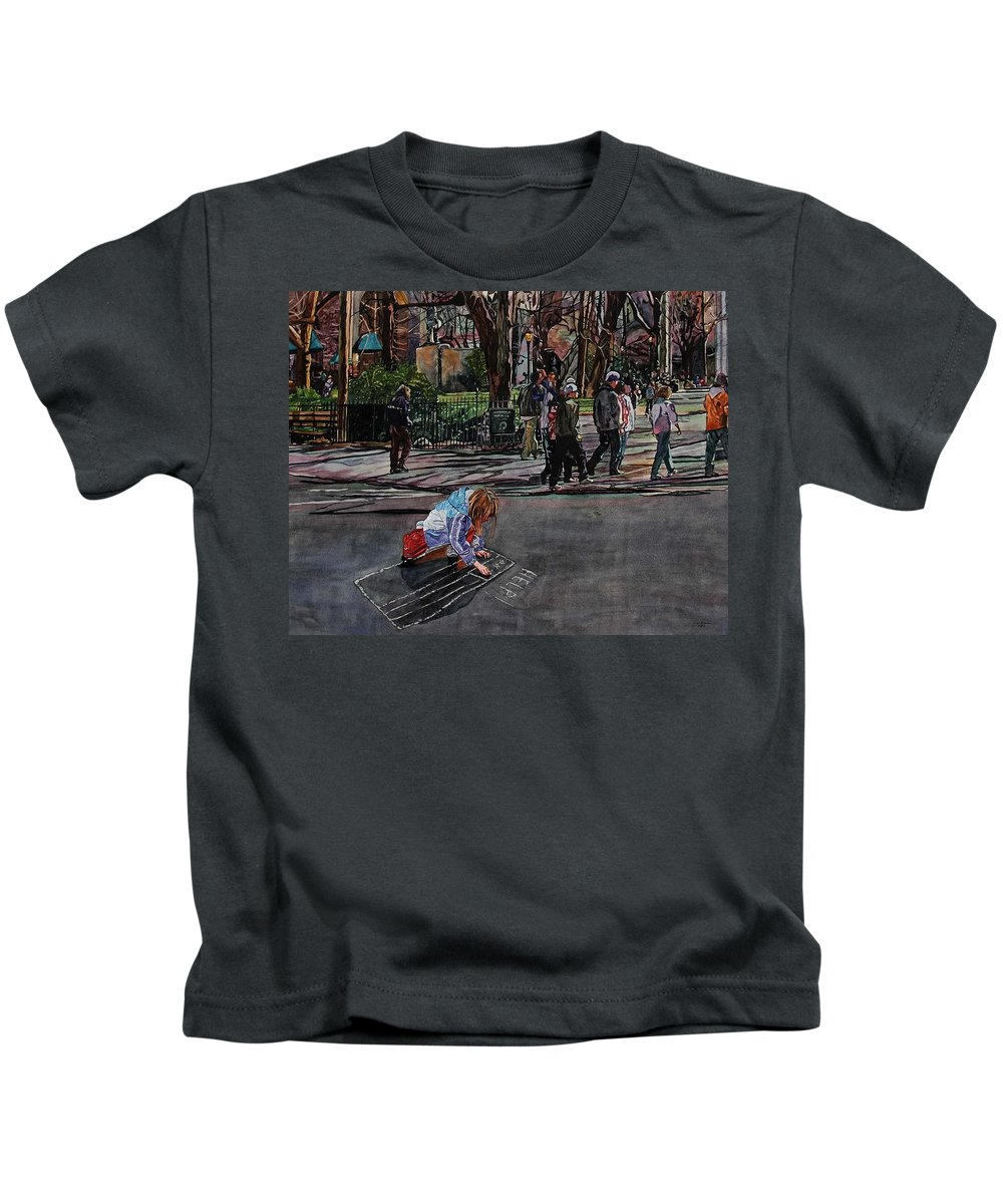 Political Kids T-Shirt featuring the painting Help by Valerie Patterson