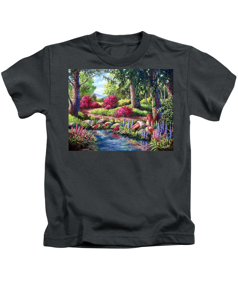 Read Kids T-Shirt featuring the painting Her Reading Hideaway by David G Paul